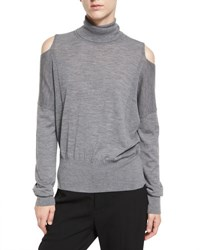 Vince Cold Shoulder Turtleneck Sweater Heather Stone