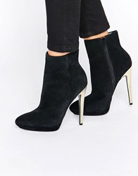 Faith Solo Felix Gold Heeled Ankle Boots Black