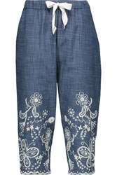 Sea Cropped Embroidered Chambray Wide Leg Pants Mid Denim