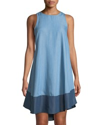 Chelsea And Theodore Sleeveless Chambray Tunic Dress W Contrast Hem Light Blue
