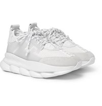 Versace Chain Reaction Panelled Mesh Sneakers White