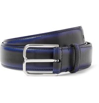 Berluti 3Cm Blue Leather Belt Black