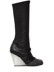 Rick Owens 90Mm Stretch Leather And Jersey Boots Black