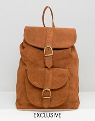 Reclaimed Vintage Suede Leather Backpack Tan