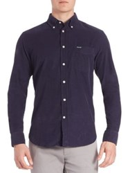 Faconnable Club Fit Corduroy Button Down Shirt Blue