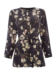 Marella Padre Long Sleeve Floral Silk Blouse Black