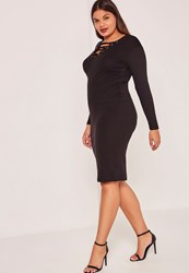 Missguided Black Plus Size Ribbed Lace Up Midi Dress