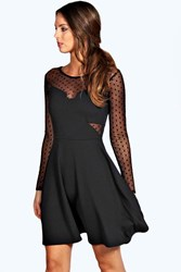 Boohoo Dot Mesh Skater Dress Black