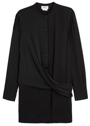 Dkny Black Jersey And Stretch Silk Tunic