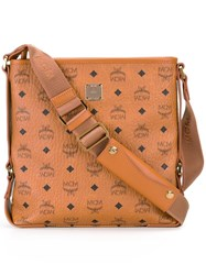Mcm Logo Print Shoulder Bag Brown