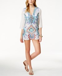 Raviya Beaded Ikat Print Tunic Cover Up Women's Swimsuit White
