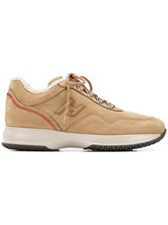 Hogan Lace Up Sneakers Nude And Neutrals