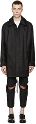 Maison Martin Margiela Black Coated Linen Coat