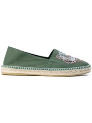 Kenzo Tiger Espadrilles Cotton Raffia Leather Rubber Green