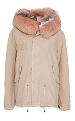 Mr And Mrs Italy Striped Fur Lined Mini Parka Pink