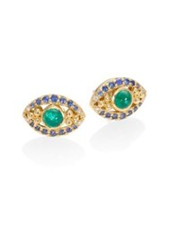 Temple St. Clair Evil Eye Diamond Emerald Blue Sapphire And 18K Yellow Gold Stud Earrings Gold Multi