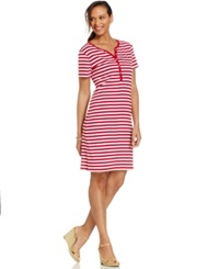 Karen Scott Petite Striped Henley Dress New Red Amore