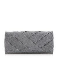 Roland Cartier Benitah Cross Pleat Clutch Pewter