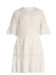 Rebecca Taylor Lace Trimmed Cotton Voile Dress White
