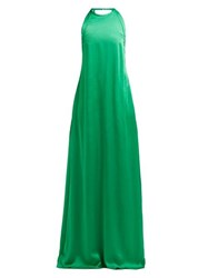 Rochas Enver Bow Embellished Satin Gown Green