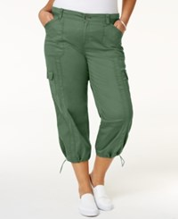 Style And Co Plus Size Capri Cargo Pants Only At Macy's Olive Sprig