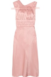 Topshop Unique Lambeth Ruched Silk Jacquard Dress Baby Pink