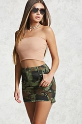 Forever 21 Frayed Camo Mini Skirt Olive Brown
