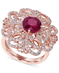 Effy Collection Effy Ruby 2 5 8 Ct. T.W. And Diamond 5 8 Ct. T.W. Flower Ring In 14K Rose Gold Red
