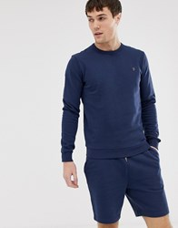 Farah Pickwell Garment Washed Crew Neck Sweat In Navy