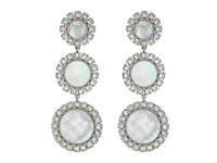 Tory Burch Deco Flower Drop Earrings Mother Of Pearl Silver Earring