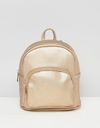 Asos Metallic Mini Backpack With Front Pocket Copper