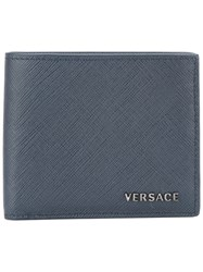 Versace Logo Plaque Bifold Wallet Blue