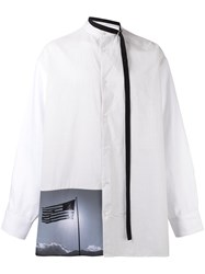 Raf Simons Patch Print Shirt Men Cotton 46 White