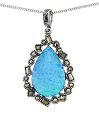 Lord And Taylor Opal Teardrop Pendant Necklace Blue