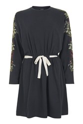 Topshop Embroidered Batwing Dress Navy Blue