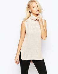 Brave Soul High Neck Chunky Ribbed Sleeveless Sweater Pastel Pink