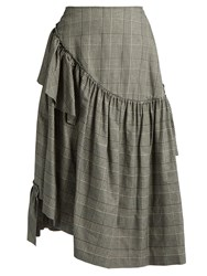 Simone Rocha Prince Of Wales Checked Ruffled Skirt Grey Multi