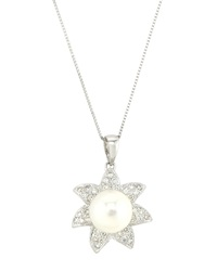 Belpearl Diamond And Pearl Flower Pendant Necklace