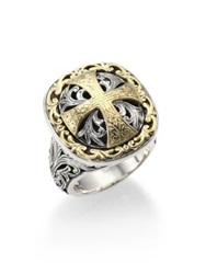 Konstantino Classics Daphne 18K Yellow Gold And Sterling Silver Filigree Cross Ring Silver Gold