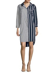 Walter Baker Nancy Striped And Polka Dot Shirtdress Navy Multi