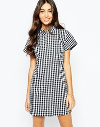 Oasis Gingham Shirt Dress Blackandwhite