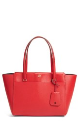 Tory Burch Small Parker Leather Tote Red Cherry Apple Royal Navy