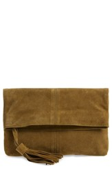 Leith Suede Clutch Green Olive