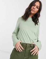Weekday Carrie Long Sleeve T Shirt In Dusty Green