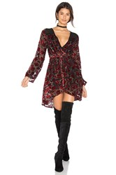 Band Of Gypsies Burnout Floral Wrap Dress Red