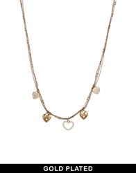 Pilgrim Gold Plated Multi Heart Charm Necklace