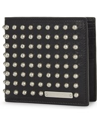 Alexander Mcqueen Leather Studded Wallet Black Silver
