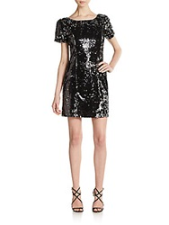 Milly Short Sleeve Sequin Dress Black Silver