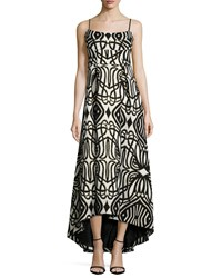 Black Halo Spaghetti Strap Geo Print High Low Gown Women's Nouveau
