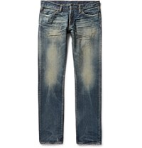 Simon Miller M001 Slim Fit Distressed Selvedge Denim Jeans Mid Denim